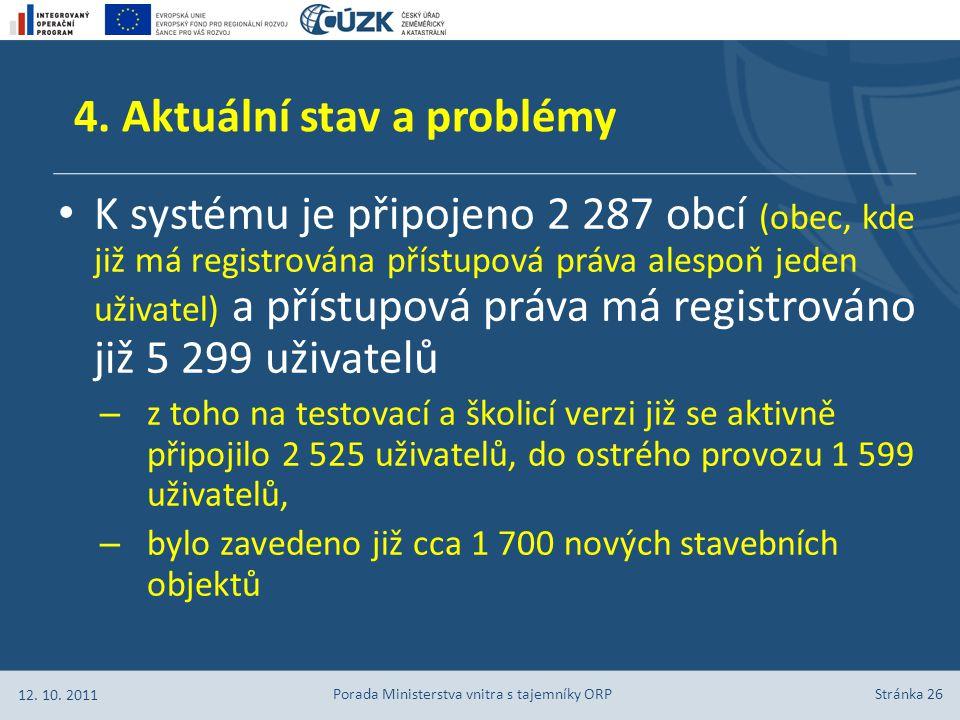 Stránka 26 K systému je připojeno 2 287 obcí (obec, kde již má registrována přístupová práva alespoň jeden uživatel) a přístupová práva má registrován