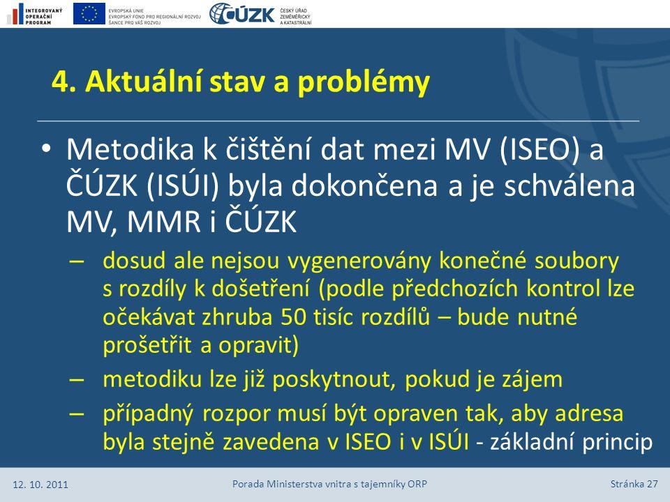 Stránka 27 Metodika k čištění dat mezi MV (ISEO) a ČÚZK (ISÚI) byla dokončena a je schválena MV, MMR i ČÚZK – dosud ale nejsou vygenerovány konečné so