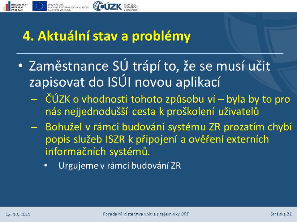 Stránka 31 4. Aktuální stav a problémy Zaměstnance SÚ trápí to, že se musí učit zapisovat do ISÚI novou aplikací – ČÚZK o vhodnosti tohoto způsobu ví