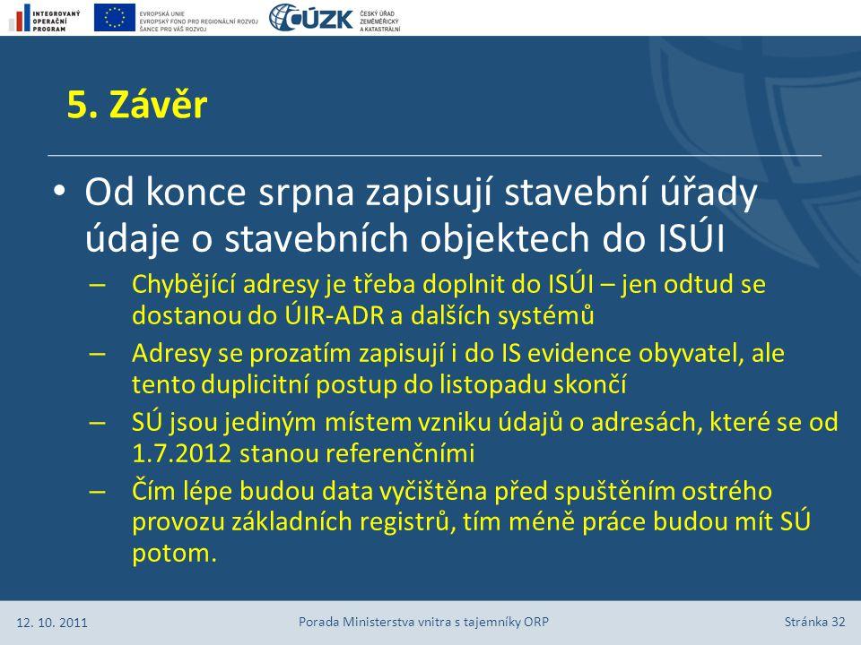 Stránka 32 Od konce srpna zapisují stavební úřady údaje o stavebních objektech do ISÚI – Chybějící adresy je třeba doplnit do ISÚI – jen odtud se dostanou do ÚIR-ADR a dalších systémů – Adresy se prozatím zapisují i do IS evidence obyvatel, ale tento duplicitní postup do listopadu skončí – SÚ jsou jediným místem vzniku údajů o adresách, které se od 1.7.2012 stanou referenčními – Čím lépe budou data vyčištěna před spuštěním ostrého provozu základních registrů, tím méně práce budou mít SÚ potom.