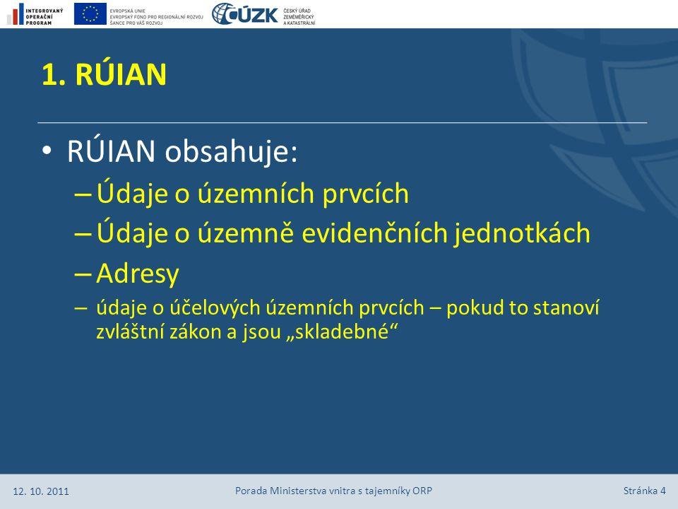 Stránka 15 Obecně platí, že údaje o nově vzniklých stavebních objektech zapisuje do RÚIAN stavební úřad poté, co od obce obdrží č.p./č.e.