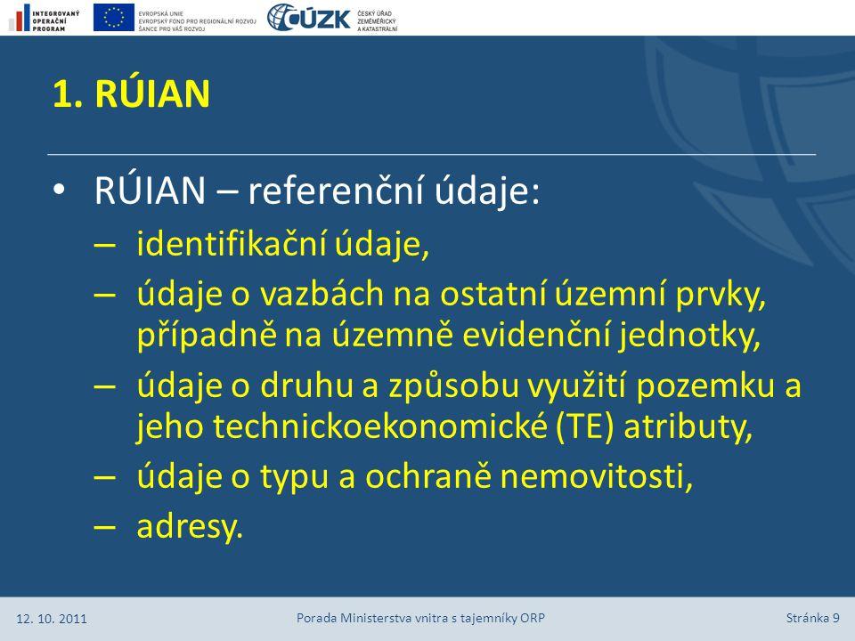 1. RÚIAN Stránka 9 RÚIAN – referenční údaje: – identifikační údaje, – údaje o vazbách na ostatní územní prvky, případně na územně evidenční jednotky,