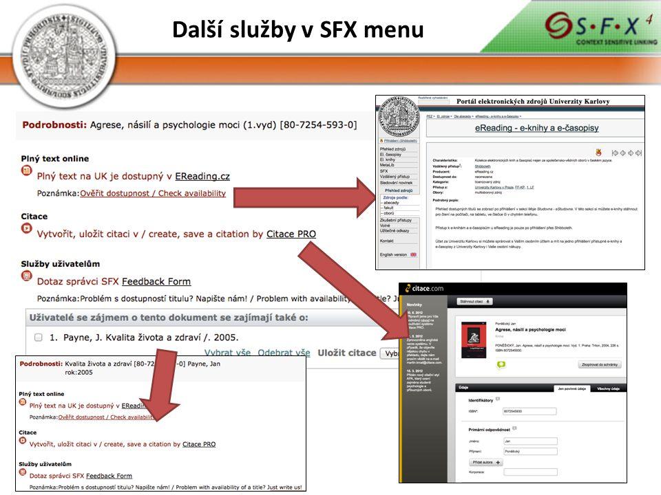 Další služby v SFX menu
