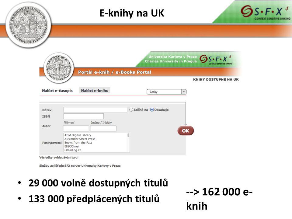 29 000 volně dostupných titulů 133 000 předplácených titulů --> 162 000 e- knih
