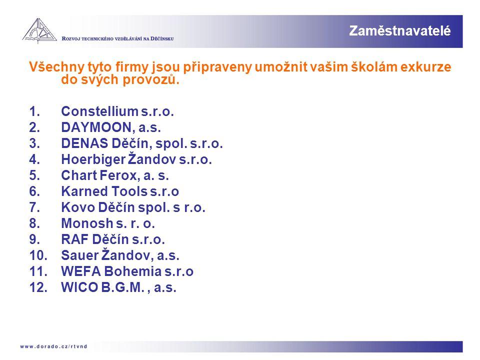 Všechny tyto firmy jsou připraveny umožnit vašim školám exkurze do svých provozů. 1.Constellium s.r.o. 2.DAYMOON, a.s. 3.DENAS Děčín, spol. s.r.o. 4.H