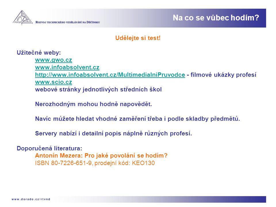 Udělejte si test! Užitečné weby: www.gwo.cz www.infoabsolvent.cz http://www.infoabsolvent.cz/MultimedialniPruvodcehttp://www.infoabsolvent.cz/Multimed
