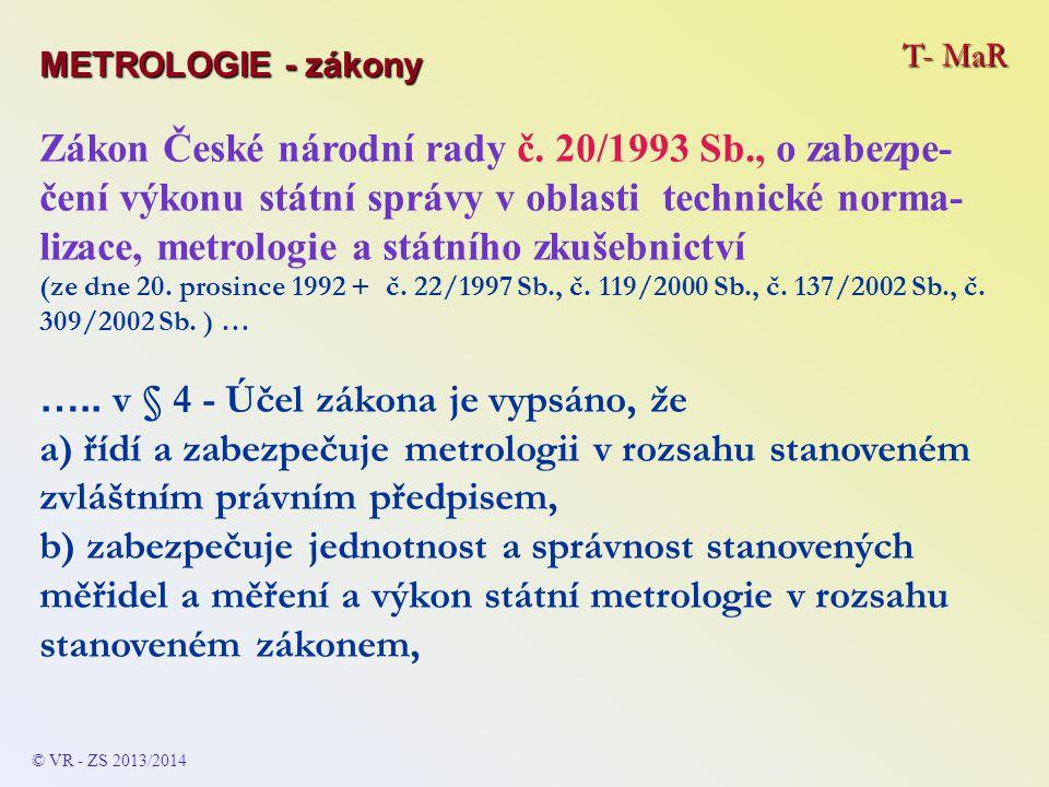 T- MaR METROLOGIE - zákony Zákon České národní rady č.