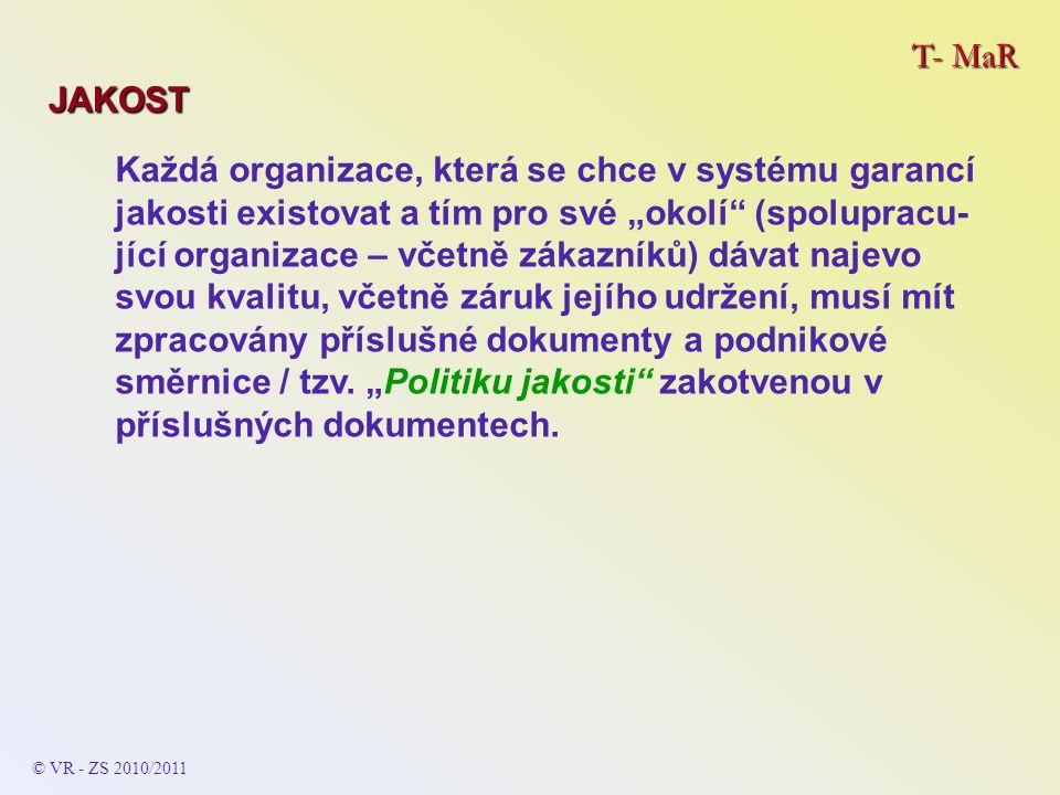 """T- MaR JAKOST Každá organizace, která se chce v systému garancí jakosti existovat a tím pro své """"okolí"""" (spolupracu- jící organizace – včetně zákazník"""