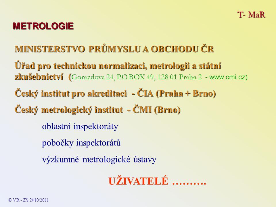 T- MaR METROLOGIE © VR - ZS 2009/2010 SOUSTAVA JEDNOTEK – SI (ČSN/EN) SOUSTAVA JEDNOTEK – SI (ČSN/EN) -je mezinárodně platná – u nás od 1.