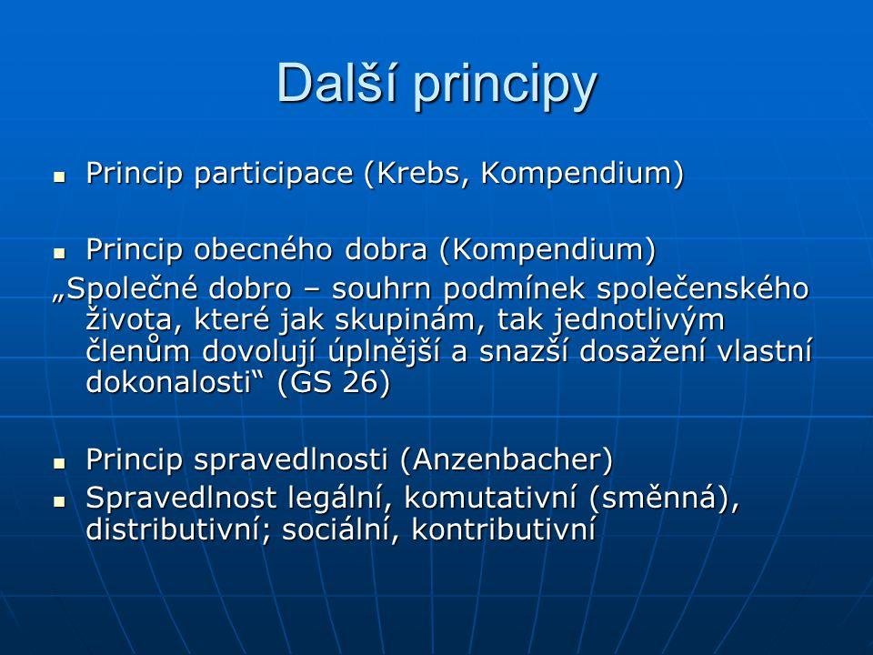 """Další principy Princip participace (Krebs, Kompendium) Princip participace (Krebs, Kompendium) Princip obecného dobra (Kompendium) Princip obecného dobra (Kompendium) """"Společné dobro – souhrn podmínek společenského života, které jak skupinám, tak jednotlivým členům dovolují úplnější a snazší dosažení vlastní dokonalosti (GS 26) Princip spravedlnosti (Anzenbacher) Princip spravedlnosti (Anzenbacher) Spravedlnost legální, komutativní (směnná), distributivní; sociální, kontributivní Spravedlnost legální, komutativní (směnná), distributivní; sociální, kontributivní"""