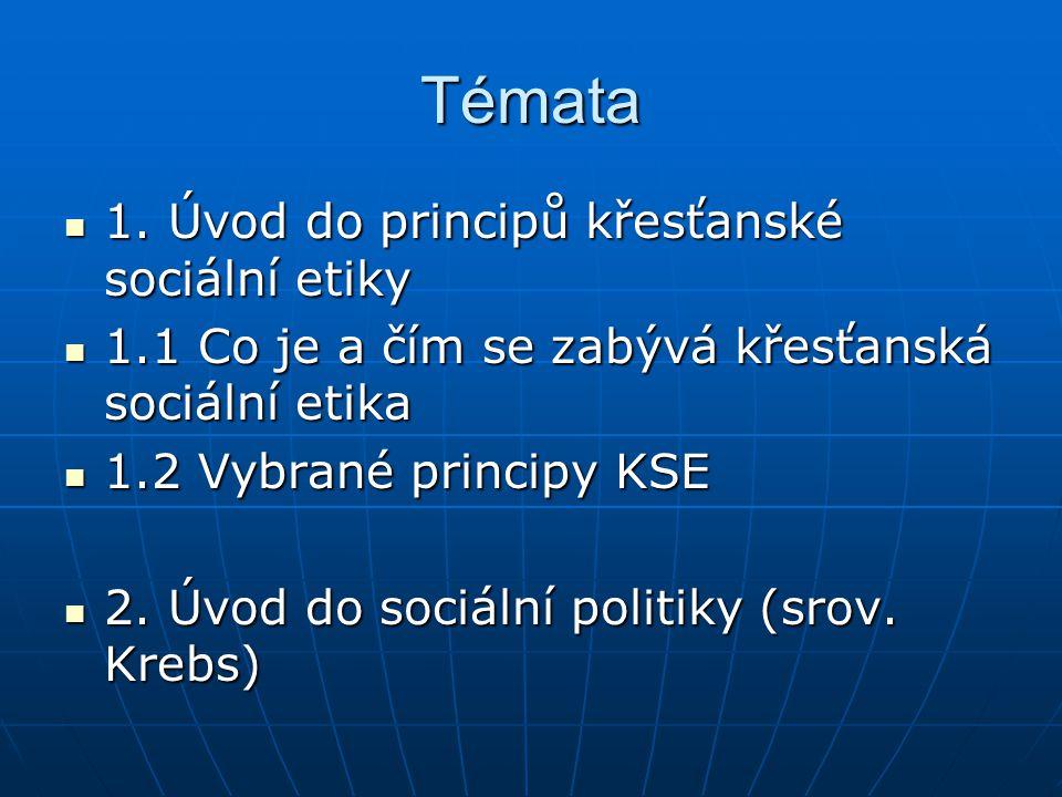 Témata 1.Úvod do principů křesťanské sociální etiky 1.