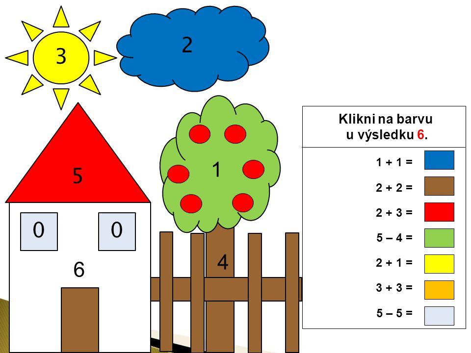 3 2 5 00 Klikni na barvu u výsledku 5. 4 1 6 1 + 1 = 2 + 2 = 2 + 3 = 5 – 4 = 2 + 1 = 3 + 3 = 5 – 5 =