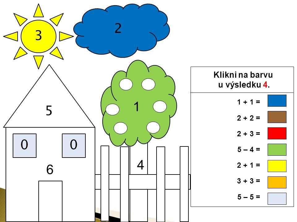 3 2 5 00 Klikni na barvu u výsledku 3. 4 1 6 1 + 1 = 2 + 2 = 2 + 3 = 5 – 4 = 2 + 1 = 3 + 3 = 5 – 5 =