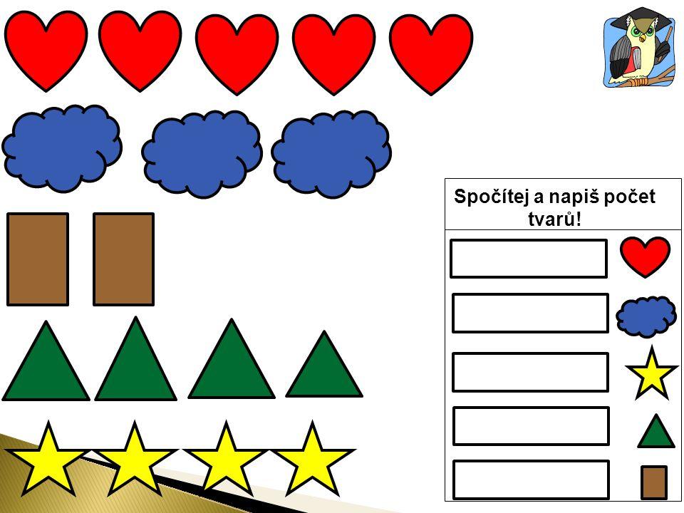 Spočítej a napiš počet tvarů!