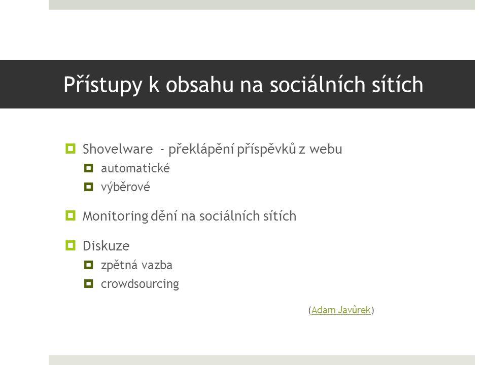 Přístupy k obsahu na sociálních sítích  Shovelware - překlápění příspěvků z webu  automatické  výběrové  Monitoring dění na sociálních sítích  Di