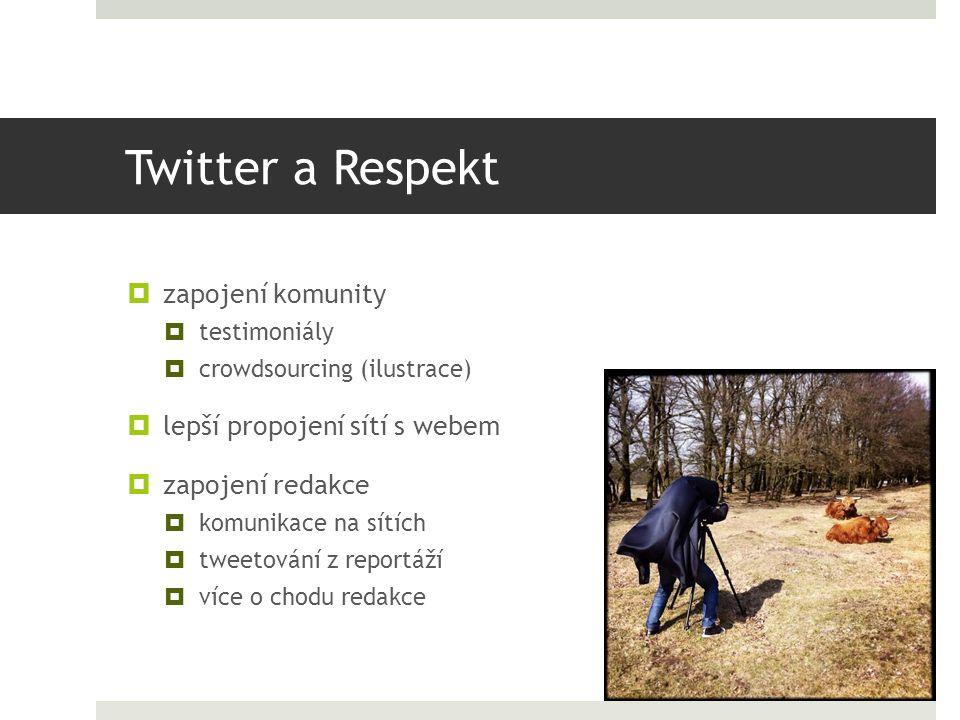 Twitter a Respekt  zapojení komunity  testimoniály  crowdsourcing (ilustrace)  lepší propojení sítí s webem  zapojení redakce  komunikace na sítích  tweetování z reportáží  více o chodu redakce
