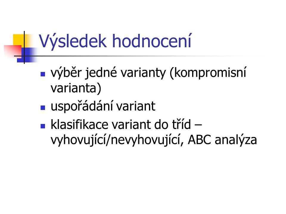 Výsledek hodnocení výběr jedné varianty (kompromisní varianta) uspořádání variant klasifikace variant do tříd – vyhovující/nevyhovující, ABC analýza