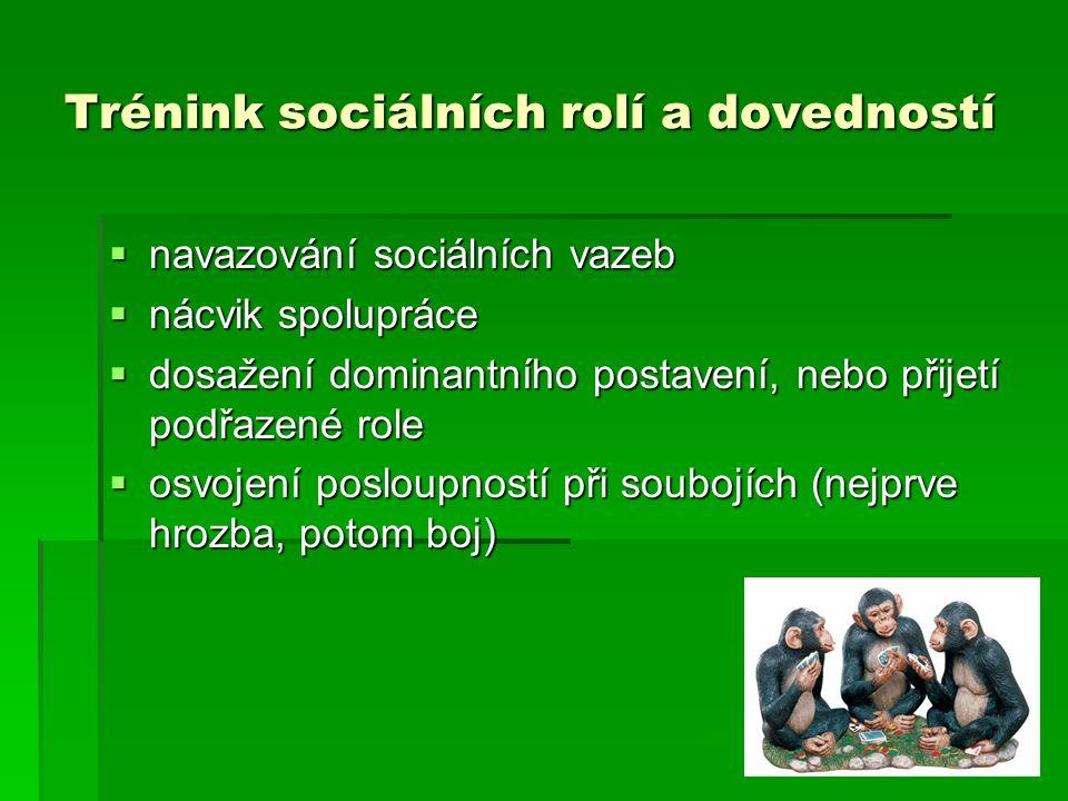 Trénink sociálních rolí a dovedností  navazování sociálních vazeb  nácvik spolupráce  dosažení dominantního postavení, nebo přijetí podřazené role