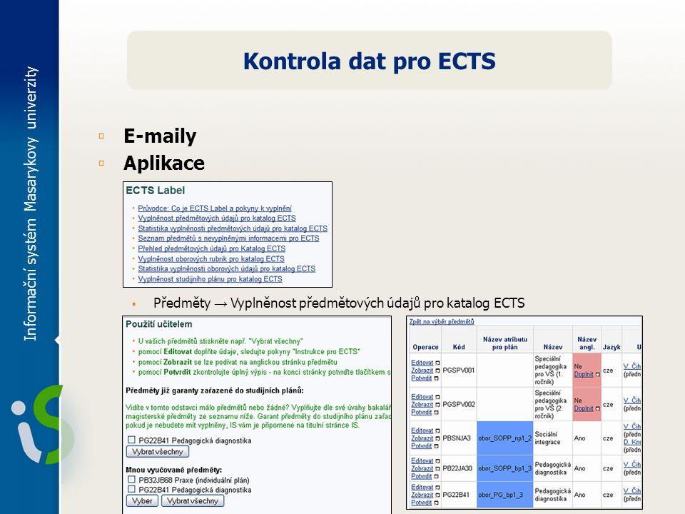 Informační systém Masarykovy univerzity Kontrola dat pro ECTS ▫ E-maily ▫ Aplikace ▪ Předměty → Vyplněnost předmětových údajů pro katalog ECTS