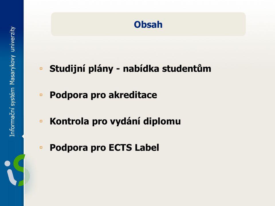 Informační systém Masarykovy univerzity Obsah ▫ Studijní plány - nabídka studentům ▫ Podpora pro akreditace ▫ Kontrola pro vydání diplomu ▫ Podpora pro ECTS Label