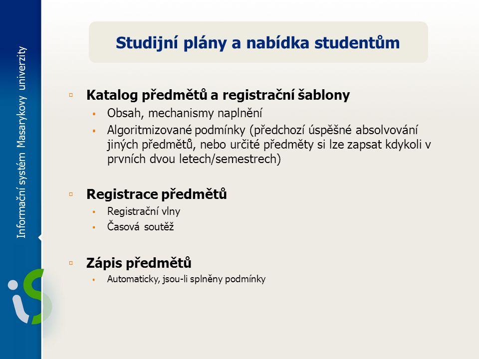 Informační systém Masarykovy univerzity Studijní plány a nabídka studentům ▫ Katalog předmětů a registrační šablony ▪ Obsah, mechanismy naplnění ▪ Alg