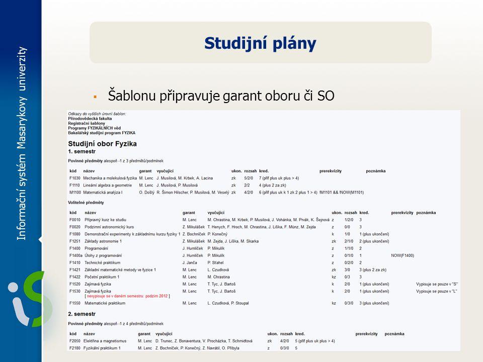 Informační systém Masarykovy univerzity Studijní plány ▪ Šablonu připravuje garant oboru či SO