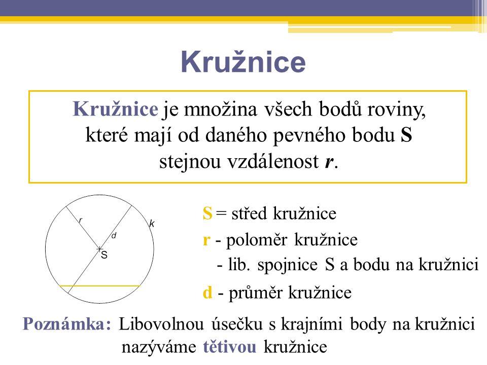 Kružnice Poznámka: Libovolnou úsečku s krajními body na kružnici nazýváme tětivou kružnice Kružnice je množina všech bodů roviny, které mají od daného