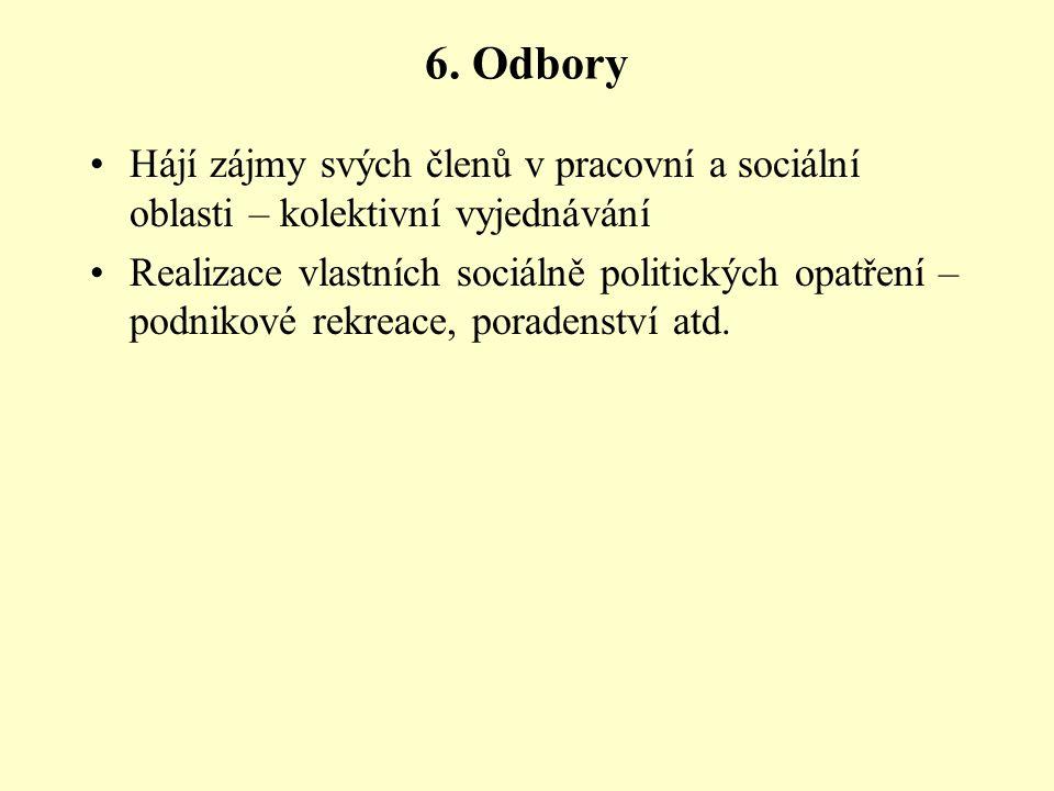 6. Odbory Hájí zájmy svých členů v pracovní a sociální oblasti – kolektivní vyjednávání Realizace vlastních sociálně politických opatření – podnikové