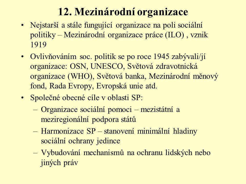12. Mezinárodní organizace Nejstarší a stále fungující organizace na poli sociální politiky – Mezinárodní organizace práce (ILO), vznik 1919 Ovlivňová