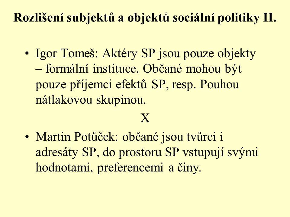 Rozlišení subjektů a objektů sociální politiky II.