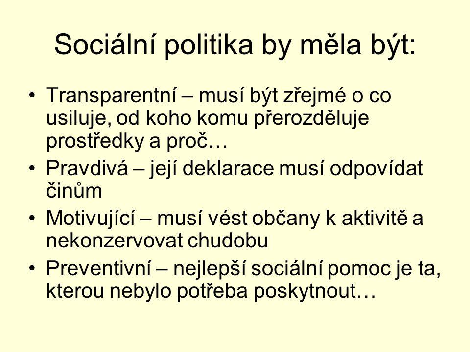 Sociální politika by měla být: Transparentní – musí být zřejmé o co usiluje, od koho komu přerozděluje prostředky a proč… Pravdivá – její deklarace mu