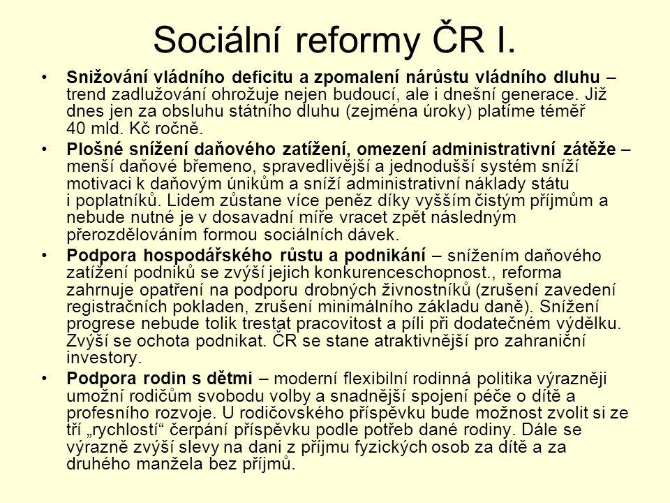 Sociální reformy ČR I. Snižování vládního deficitu a zpomalení nárůstu vládního dluhu – trend zadlužování ohrožuje nejen budoucí, ale i dnešní generac