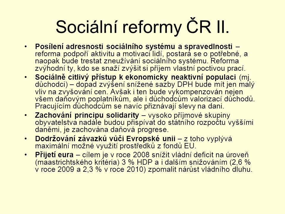 Sociální reformy ČR II. Posílení adresnosti sociálního systému a spravedlnosti – reforma podpoří aktivitu a motivaci lidí, postará se o potřebné, a na