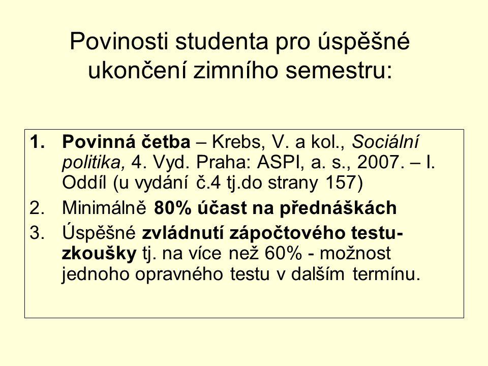 Povinosti studenta pro úspěšné ukončení zimního semestru: 1.Povinná četba – Krebs, V. a kol., Sociální politika, 4. Vyd. Praha: ASPI, a. s., 2007. – I