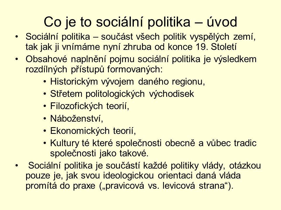 Pojetí sociální politiky Sociální politiku nelze jednoznačně vymezit Sociální politiku je nutné vždy vnímat v daném kontextu doby, společenského systému ke kterému se vztahuje, přitom si vždy nese znaky, které jsou společné po dobu celé její existence.