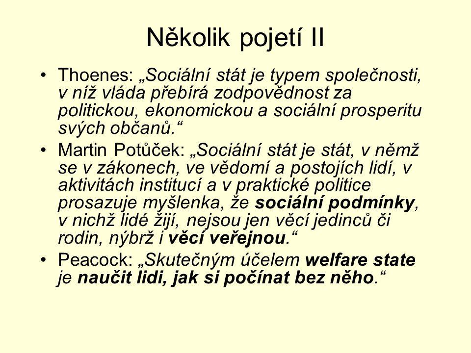 """Několik pojetí II Thoenes: """"Sociální stát je typem společnosti, v níž vláda přebírá zodpovědnost za politickou, ekonomickou a sociální prosperitu svýc"""