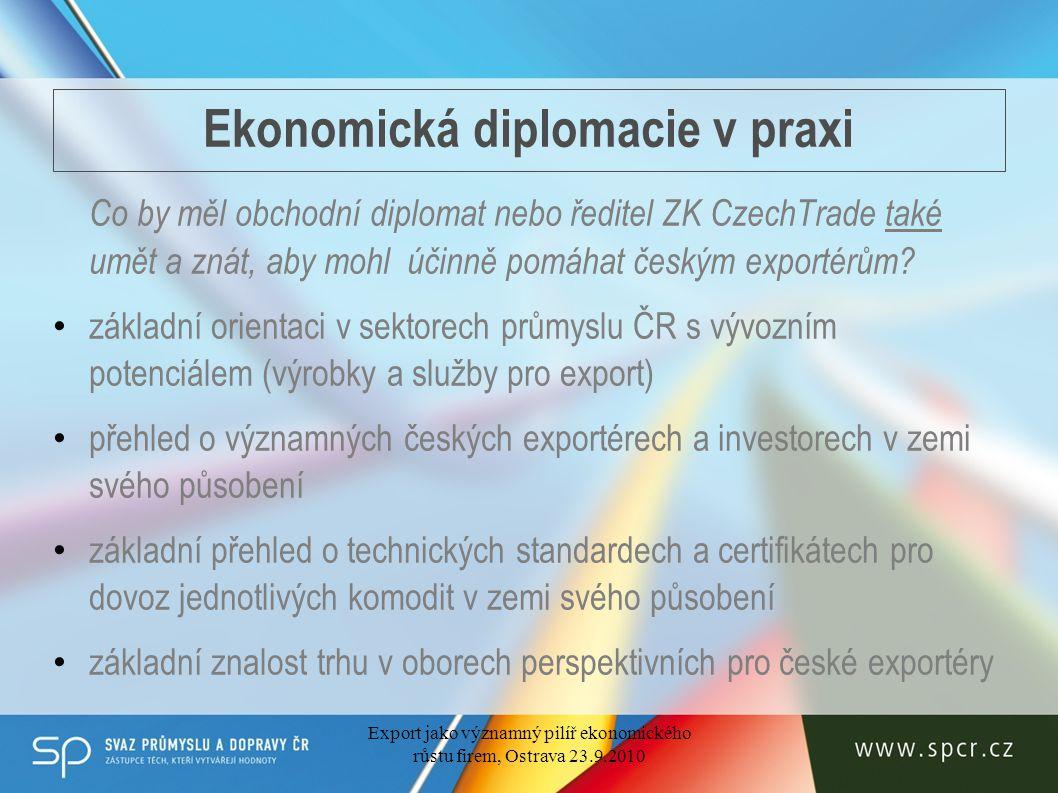 Ekonomická diplomacie v praxi Co by měl obchodní diplomat nebo ředitel ZK CzechTrade také umět a znát, aby mohl účinně pomáhat českým exportérům.