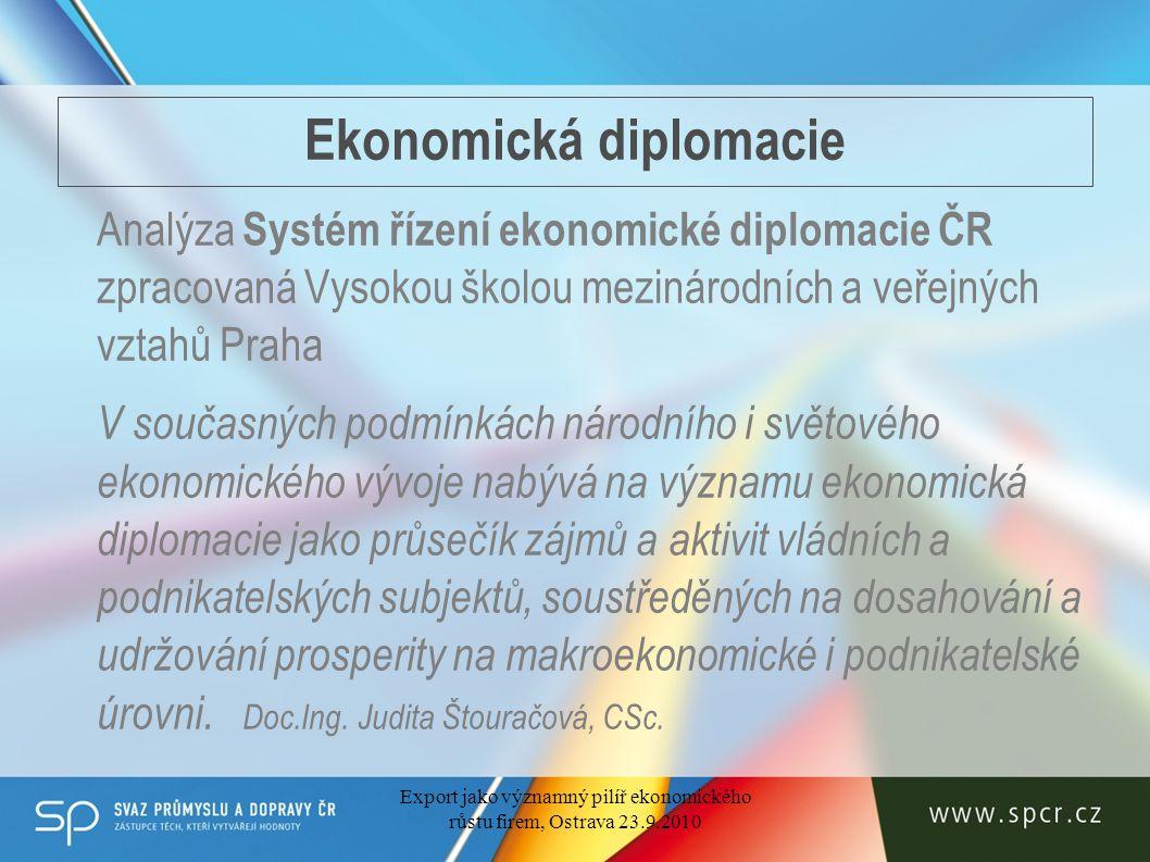 Ekonomická diplomacie Analýza Systém řízení ekonomické diplomacie ČR zpracovaná Vysokou školou mezinárodních a veřejných vztahů Praha V současných podmínkách národního i světového ekonomického vývoje nabývá na významu ekonomická diplomacie jako průsečík zájmů a aktivit vládních a podnikatelských subjektů, soustředěných na dosahování a udržování prosperity na makroekonomické i podnikatelské úrovni.