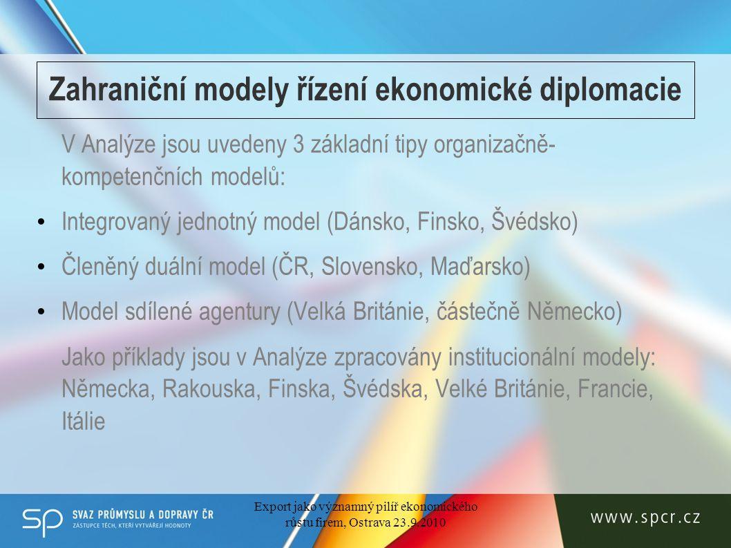 Zahraniční modely řízení ekonomické diplomacie V Analýze jsou uvedeny 3 základní tipy organizačně- kompetenčních modelů: Integrovaný jednotný model (Dánsko, Finsko, Švédsko) Členěný duální model (ČR, Slovensko, Maďarsko) Model sdílené agentury (Velká Británie, částečně Německo) Jako příklady jsou v Analýze zpracovány institucionální modely: Německa, Rakouska, Finska, Švédska, Velké Británie, Francie, Itálie Export jako významný pilíř ekonomického růstu firem, Ostrava 23.9.2010