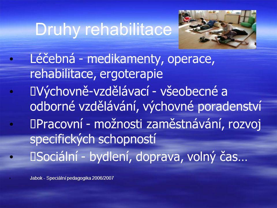 Druhy rehabilitace Léčebná - medikamenty, operace, rehabilitace, ergoterapie Výchovně-vzdělávací - všeobecné a odborné vzdělávání, výchovné poradenství Pracovní - možnosti zaměstnávání, rozvoj specifických schopností Sociální - bydlení, doprava, volný čas… Jabok - Speciální pedagogika 2006/2007