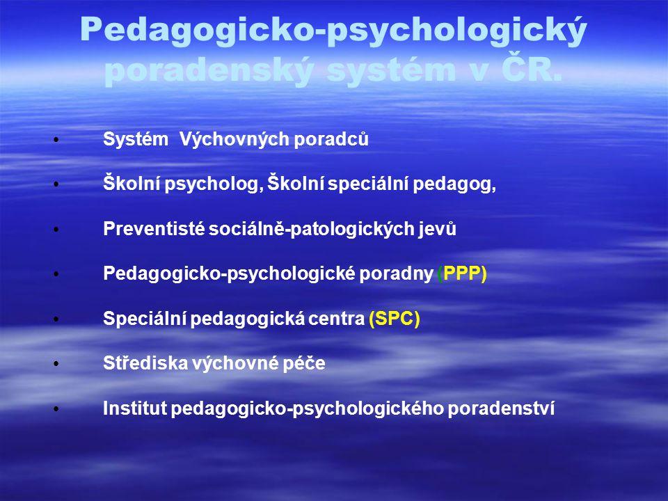 Pedagogicko-psychologický poradenský systém v ČR.