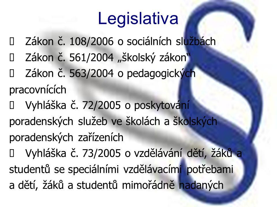 Legislativa  Zákon č. 108/2006 o sociálních službách  Zákon č.