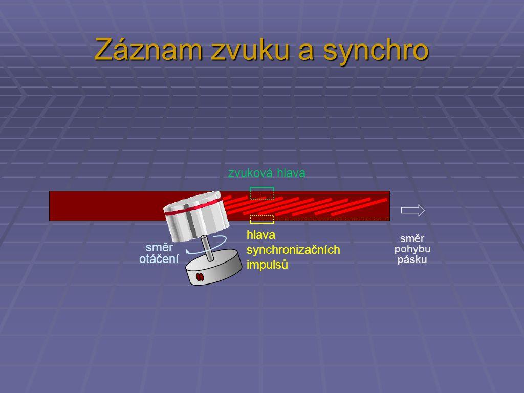 Záznam zvuku a synchro směr pohybu pásku směr otáčení zvuková hlava hlava synchronizačních impulsů
