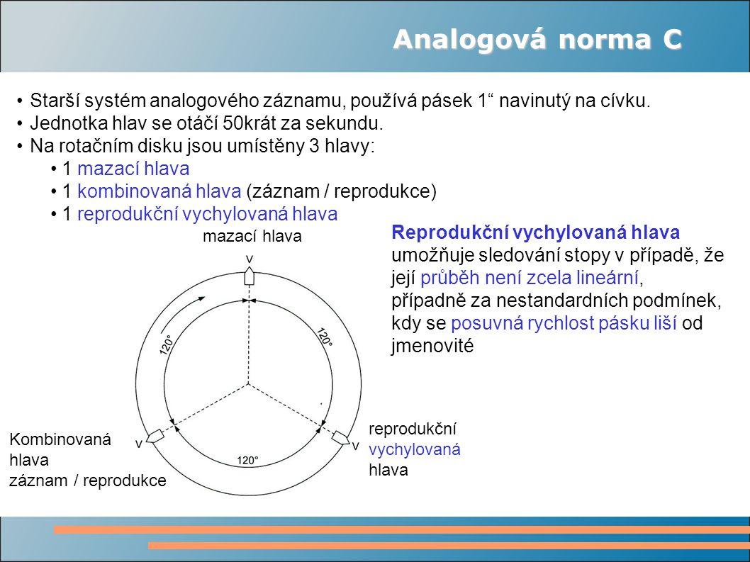 """Analogová norma C Starší systém analogového záznamu, používá pásek 1"""" navinutý na cívku. Jednotka hlav se otáčí 50krát za sekundu. Na rotačním disku j"""
