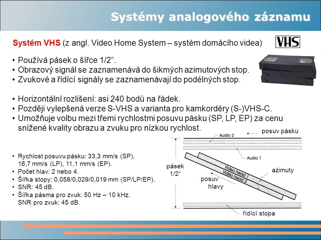 """Systémy analogového záznamu Systém VHS (z angl. Video Home System – systém domácího videa) posuv pásku azimuty posuv hlavy řídící stopa pásek 1/2"""" Pou"""