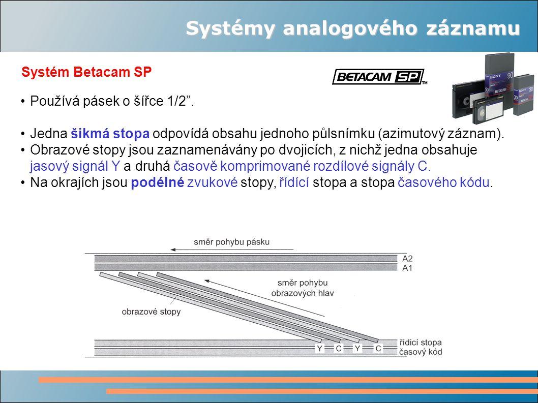 """Systémy analogového záznamu Systém Betacam SP Používá pásek o šířce 1/2"""". Jedna šikmá stopa odpovídá obsahu jednoho půlsnímku (azimutový záznam). Obra"""