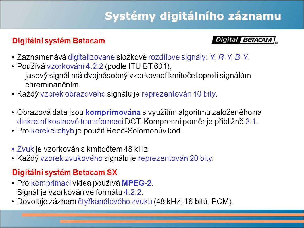 Systémy digitálního záznamu Digitální systém Betacam Zaznamenává digitalizované složkové rozdílové signály: Y, R-Y, B-Y. Používá vzorkování 4:2:2 (pod