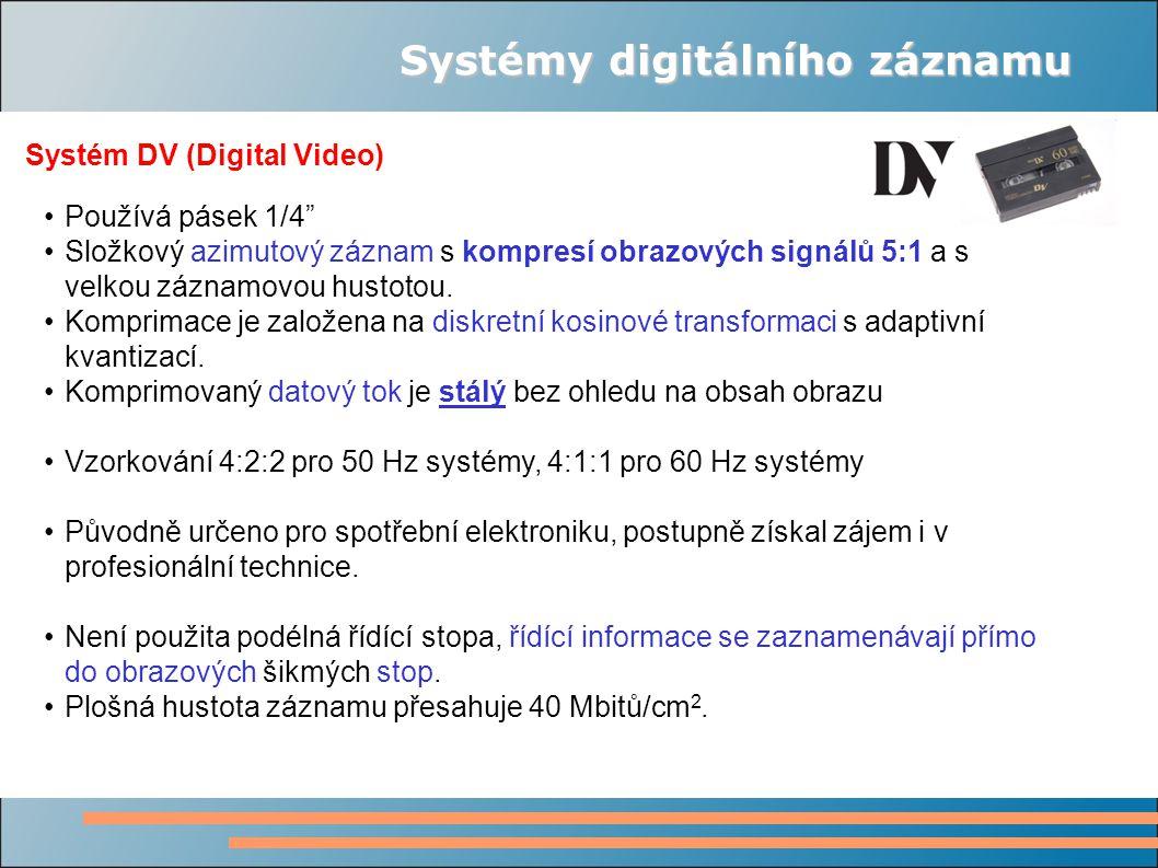 """Systémy digitálního záznamu Systém DV (Digital Video) Používá pásek 1/4"""" Složkový azimutový záznam s kompresí obrazových signálů 5:1 a s velkou záznam"""