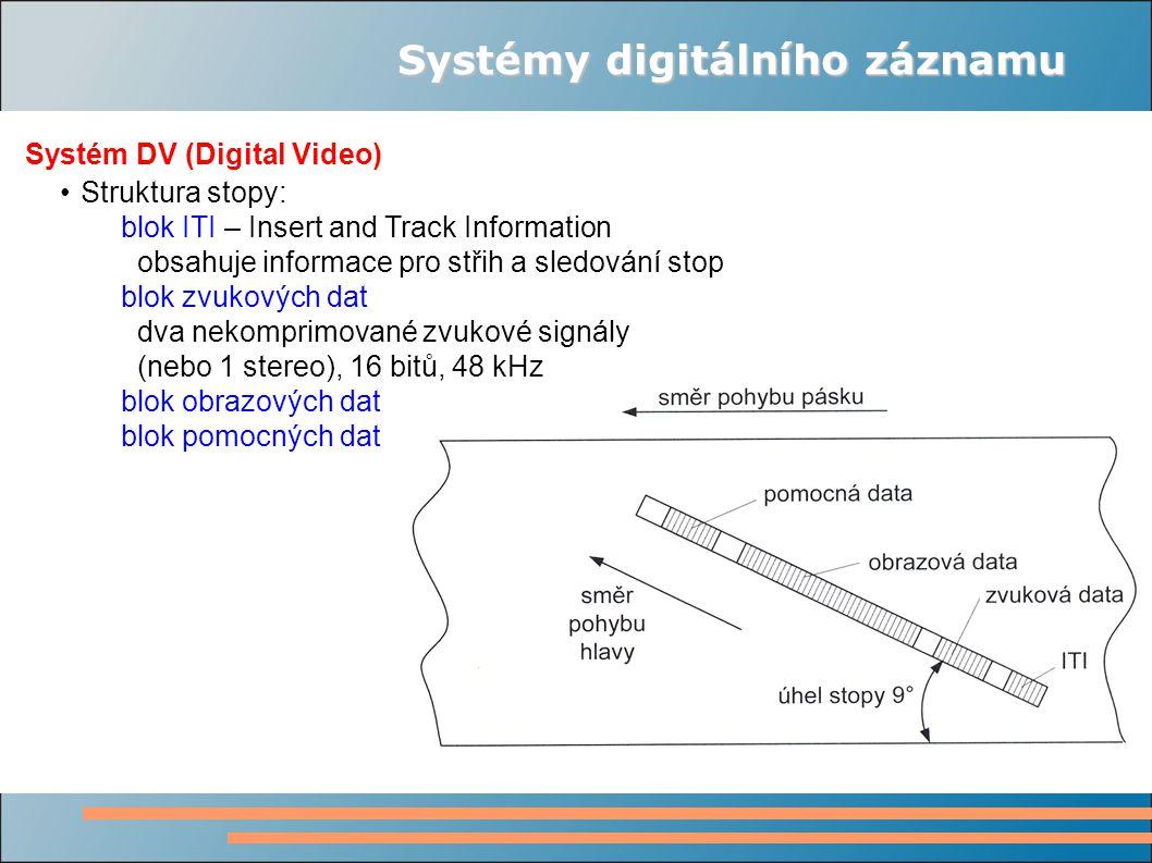 Systémy digitálního záznamu Systém DV (Digital Video) Struktura stopy: blok ITI – Insert and Track Information obsahuje informace pro střih a sledován