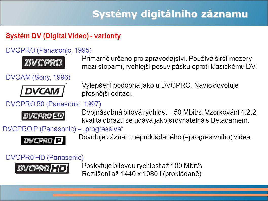 DVCPR0 HD (Panasonic) Poskytuje bitovou rychlost až 100 Mbit/s. Rozlišení až 1440 x 1080 i (prokládaně). DVCAM (Sony, 1996) Vylepšení podobná jako u D